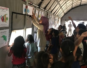 Reaching out to children in the Mt. Agung refugee camp at Les village, north Bali